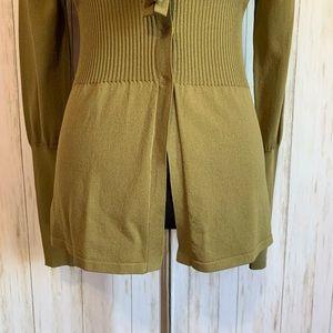 BCBGMaxAzria Sweaters - BCBGMaxazria military green fitted cardigan M NWT